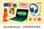 headphones  microphone  laptop  ... | Shutterstock .eps vector #1969051924