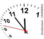 clock 3d   eleven fifty five | Shutterstock .eps vector #196908941