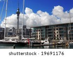 Auckland waterfront photographed from the Viaduct Harbour - stock photo