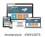 modern flat web design in... | Shutterstock .eps vector #196913075