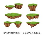 set flying islands with ground... | Shutterstock .eps vector #1969145311