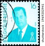 Small photo of BELGIUM - CIRCA 1996: A stamp printed in Belgium shows Albert II of Belgium circa 1996