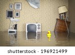 Flooded Vintage Interior. 3d...