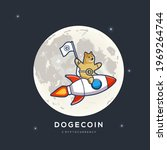 dogecoin going to the moon ... | Shutterstock .eps vector #1969264744