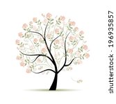 spring tree with roses for your ... | Shutterstock .eps vector #196935857