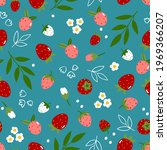 strawberry seamless pattern.... | Shutterstock .eps vector #1969366207