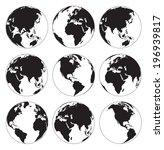 Vector Globe Earth Icons On A...