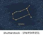 hand drawn card of gold gemini  ... | Shutterstock .eps vector #1969549351