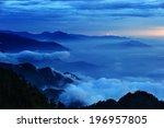 mountain tops at dawn... | Shutterstock . vector #196957805