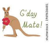 Cute Cartoon Kangaroo With...