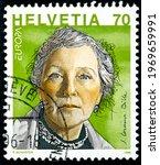 Small photo of SWITZERLAND - CIRCA 1996: a stamp printed in the Switzerland shows S.Corinna Bille Writer circa 1996