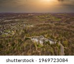 Aerial view of the former lung sanatorium in Windeck-Rosbach on the river Sieg. Today a lost place.