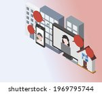 hybrid workplace with employees ... | Shutterstock .eps vector #1969795744