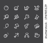 baby toys vector white icon set ... | Shutterstock .eps vector #196985129