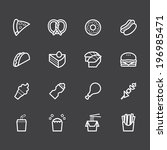 fast food vector white icon set ... | Shutterstock .eps vector #196985471
