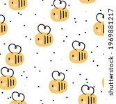 yellow honey bees seamless... | Shutterstock .eps vector #1969881217