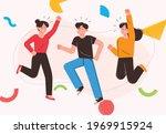 young men and women jumping....   Shutterstock .eps vector #1969915924