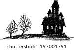 hand drawn halloween haunted... | Shutterstock .eps vector #197001791
