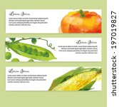 vegetables vector background.... | Shutterstock .eps vector #197019827