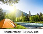 tourist tent in forest camp | Shutterstock . vector #197022185