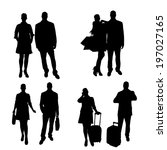 vector silhouette of people on... | Shutterstock .eps vector #197027165