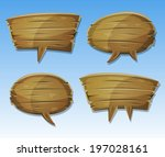 comic wood speech bubbles set ...