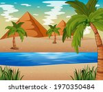 Desert With Pyramid And Nile...