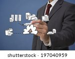 businessman writing graphic... | Shutterstock . vector #197040959