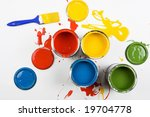 opened paint buckets colors | Shutterstock . vector #19704778