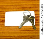 business card and keys on wood... | Shutterstock . vector #197050409