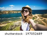 pretty young female tourist... | Shutterstock . vector #197052689