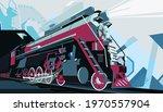 Retro Train Poster Vector...