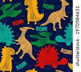 seamless pattern with dinosaur... | Shutterstock .eps vector #1970584631