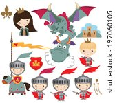 medieval dragon  knight and... | Shutterstock .eps vector #197060105