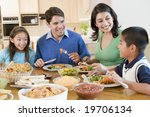 family enjoying meal mealtime... | Shutterstock . vector #19706134