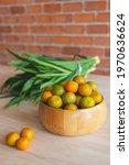 Fresh Orange In The Wooden Bowl ...