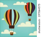 vintage or retro hot air... | Shutterstock .eps vector #197064575