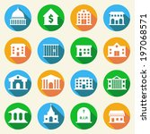 government building flat icons... | Shutterstock . vector #197068571