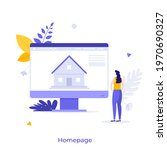 woman looking at house building ...   Shutterstock .eps vector #1970690327