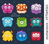 set of cute colorful monsters. | Shutterstock .eps vector #197069261