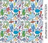 seamless summer sea animals... | Shutterstock .eps vector #197072324