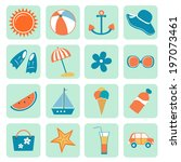 colorful summer icons... | Shutterstock .eps vector #197073461