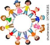 circle of happy children... | Shutterstock . vector #197083181