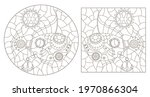 set of contour illustrations in ... | Shutterstock .eps vector #1970866304