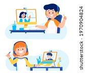 little kid student do online...   Shutterstock .eps vector #1970904824