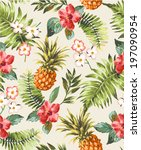 vintage seamless tropical... | Shutterstock .eps vector #197090954