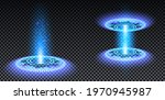 blue hologram portal set. magic ...
