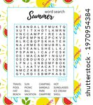 summer word search puzzle. ... | Shutterstock .eps vector #1970954384