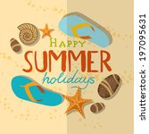 summer beach background. vector ... | Shutterstock .eps vector #197095631
