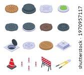 manhole icons set. isometric... | Shutterstock .eps vector #1970957117